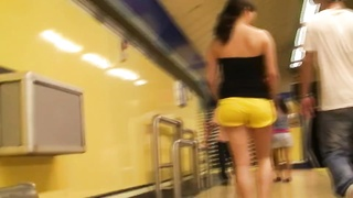 Spanish teenage  impartial caboose  in yellow cut-offs Thumb