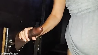 SatiSlut - milf plowed at glory hole in the adult theater. Thumb
