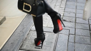 Exhibitionist nude under trench in louboutin shoes + UPSKIRT Thumb