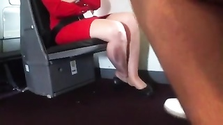 candid Air Stewardess Nylon legs Feet and Shoeplay Thumb
