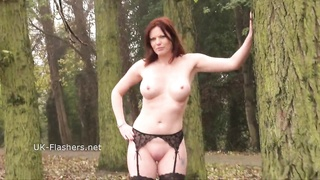 Redhead Holly kiss flashing in public and outdoor fake penis  masturbation Thumb