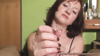 Maya POV voluptuous  hand job with vast jizz shot Thumb
