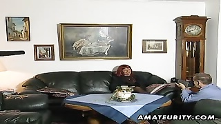 Redhead amateur mummy deep-throats shaft with cum on boobies Thumb
