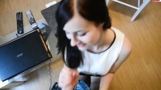 youthful German Brunette drilled while Tutoring Thumb