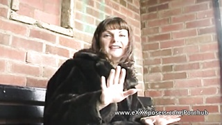 English milf persuaded to flash outdoors Thumb