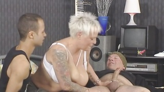 Blonde-Shorthair Tattoo-BBW-Goddess banged by two  studs Thumb