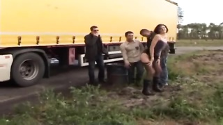 Sophie plumbed in pantyhose by truck drivers Thumb