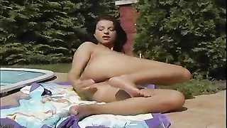 Melissa likes  of the sun next to the pool and dildoing tiring. Thumb
