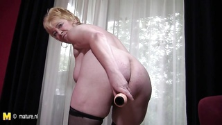 grandmother enjoys to play in the buff Thumb