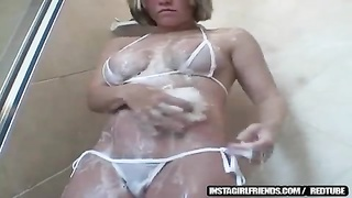 huge-titted blonde bombshell Lets Us In During Shower Thumb