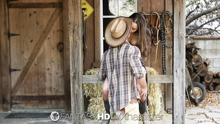 HD FantasyHD - Cowgirl Dani Daniels rides manstick at the farm Thumb