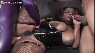 huge-boobed  fledgling  ebony damsel anal invasion three-way Thumb