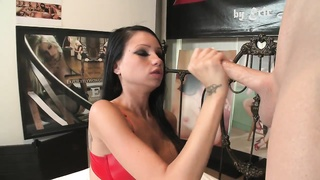 nasty brunette jacks  with a dildo after a hard fuck Thumb