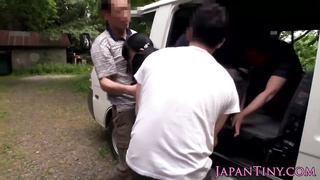 bitsy Japanese teen outdoor group pounded Thumb