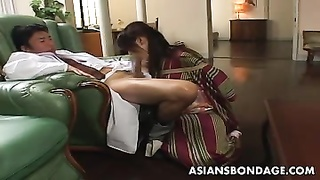 oriental lass is deepthroating on the man-meat corded up Thumb