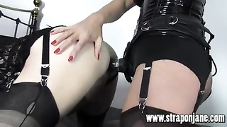 FemDom Strapon Jane ravages tgirl fucksluts tight arse from backside Thumb