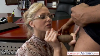 blondy teacher Julia Ann poking  a BBC Thumb