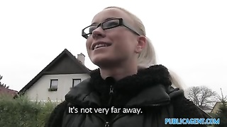 PublicAgent slutty blonde in glasses pummels Thumb
