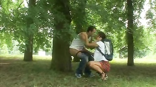hookup with a warm schoolgirl in the woods Thumb