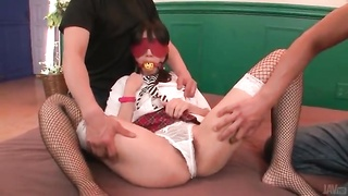 Blindfolded and gagged schoolgirl touched Thumb