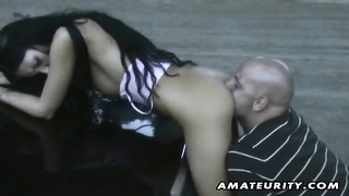 A cute brunette amateur gf  homemade outdoor and indoor xxx  action with anal invasion, suck off and Thumb