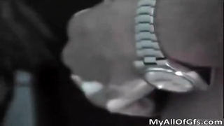 awesome scorching bod affable black  slut give benign hand job in bathroom by MyAllofGfs from My All Thumb