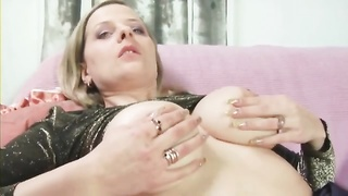 shapely bitch in pantyhose slurps  his backdoor Thumb