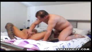 A lovely blonde fledgling  girlfriend homemade xxx  activity  with an old man listless! Ending with Thumb