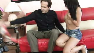 youthful girl lap dance for her boyfriend and giving him fellatio Thumb