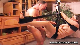 fledgling  lovers homemade xxx  act on a strapon system: blowjob, butt toying and smash ending with Thumb