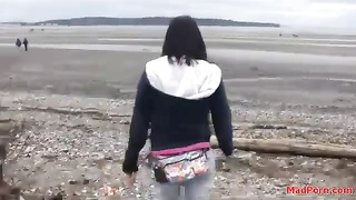 He films his cute gf  as she strolls outdoors Thumb