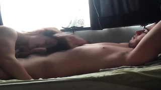 Getting into bed with girl that deepthroats his fuck-stick Thumb