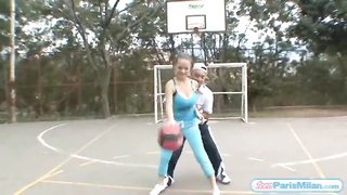 huge melons teen bouncing on the basketball court Thumb