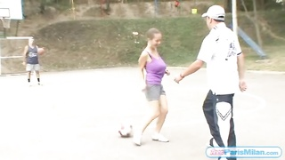 large tits bounce as teen plays soccer Thumb