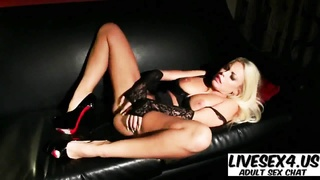 buxom Britney milks on the sofa Thumb