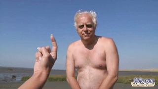 youthfull  big boobed dame fuckin' old man on the beach Thumb