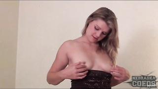 Adorable girl with little tits strips from her dress Thumb
