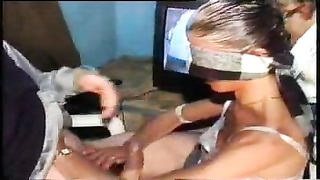 His blindfolded wifey deep-throats cock Thumb