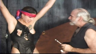 beautiful bdsm damsel with tattoo and trimmed cootchie gets tortured by sir Len Thumb
