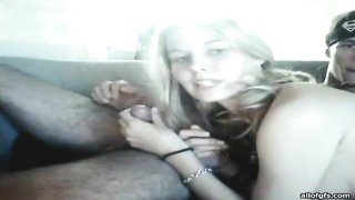 stunning teen lovers occupy sultry  penetrating on the couch Thumb