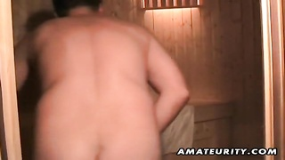 A blondie inexperienced wife masturbates, deepthroats and ravages with cum in mouth in a sauna tires Thumb
