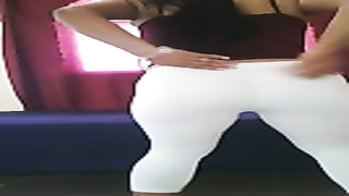 teasing qnd dancing with her luxurious bootie in white leggings Thumb