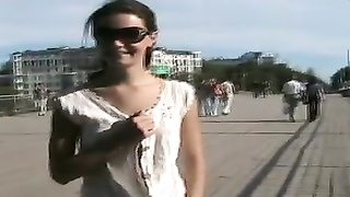 Naughty in public Nude cuttie on the brigde on a windy day Thumb