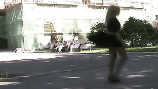 bad in public yellow-haired gal flashing her vulva in public Thumb