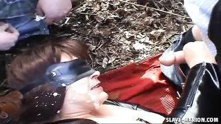 warm sex slave Marion pissed on by numerous strangers at the public park. Her husband films it. No s Thumb