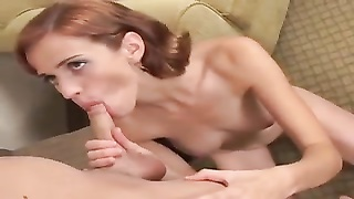 Redhead amateur gets on her knees to blow sausage Thumb
