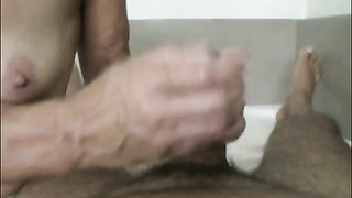 granny Heike, hand job in her erst home Thumb