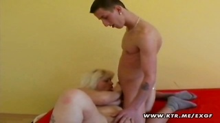 A chubby blond amateur housewife sucking cock and getting fucked ! Homemade action with a nice cumsh Thumb