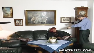 A nasty redhead amateur mature housewife homemade hardcore blowjob with cumshot on her tits ! Thumb