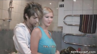 Cuckold fantasies come true with blonde girlfriend Thumb